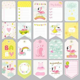 Étiquettes de bébé flamant rose. cartes mignonnes