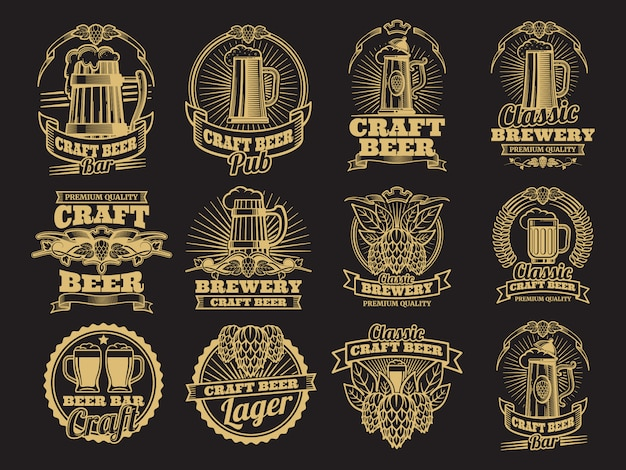 Étiquettes de bière vintage vector sur fond noir