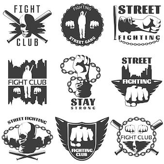 Étiquettes blanches noires de combat de rue