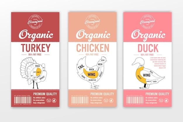 Étiquettes de boucherie de vecteur avec des silhouettes d'animaux de ferme. icônes de vache, de poulet, de porc, d'agneau, de dinde et de canard et textures de viande pour l'épicerie, les magasins de viande, l'emballage et la publicité