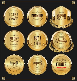 Étiquettes et boucliers de badges dorés vintage rétro