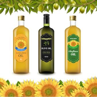 Étiquettes de bouteille de tournesols et d'huile d'olive avec bordure