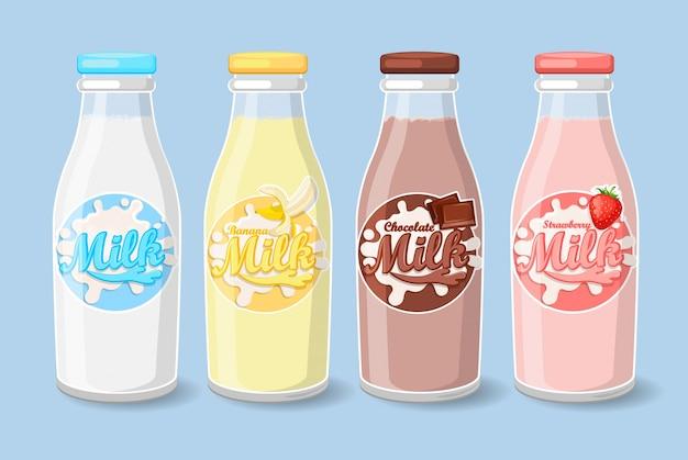 Étiquettes sur les bouteilles de lait.