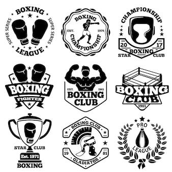 Étiquettes de boxe sertie de boxeur