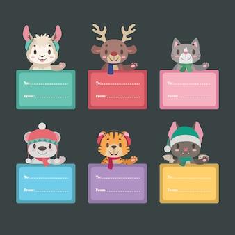 Etiquettes cadeaux de noël avec des animaux mignons