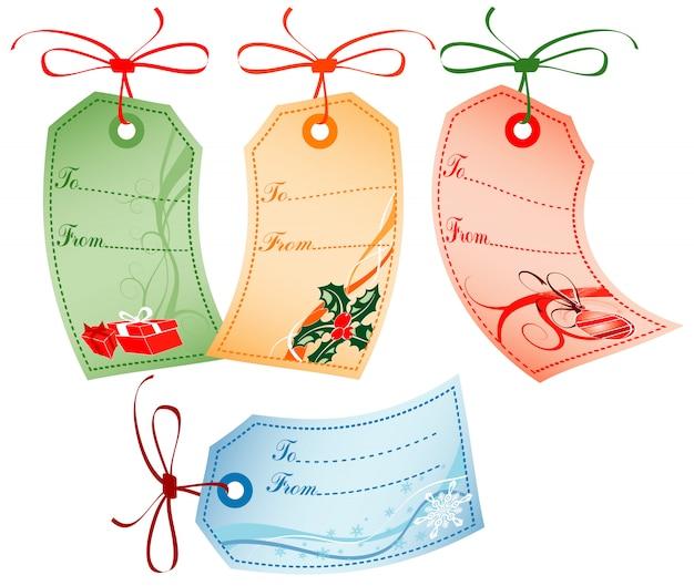 Etiquettes cadeaux de noël avec décorations de noël