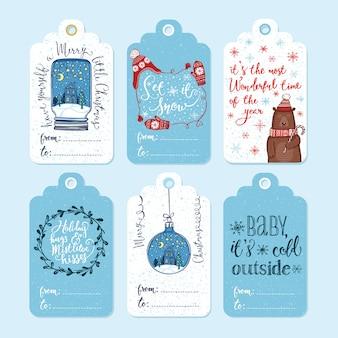 Étiquettes de cadeaux de noël.