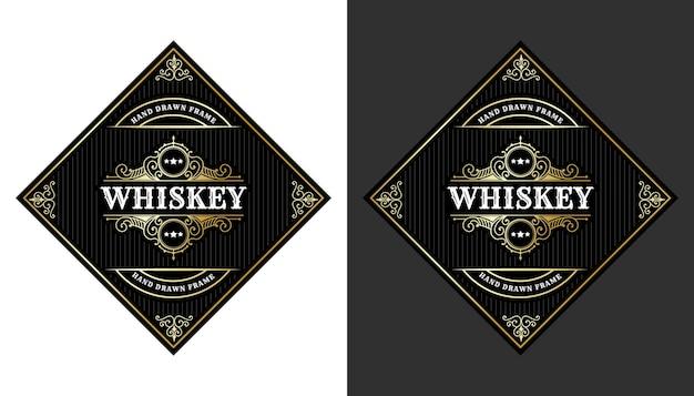 Étiquettes de cadre royal de luxe vintage avec logo pour l'emballage de bouteilles de boissons alcoolisées de whisky de bière