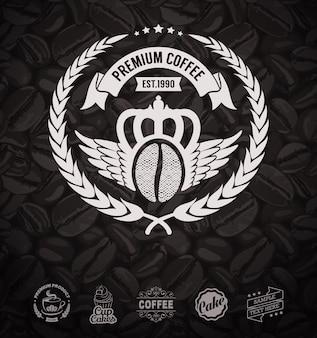 Étiquettes de café et grains de café