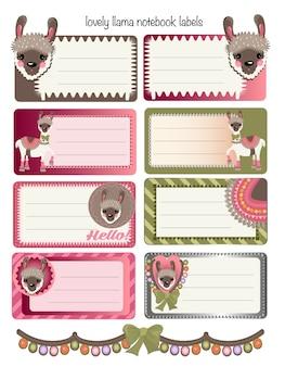 Étiquettes de cahier avec de jolis lamas