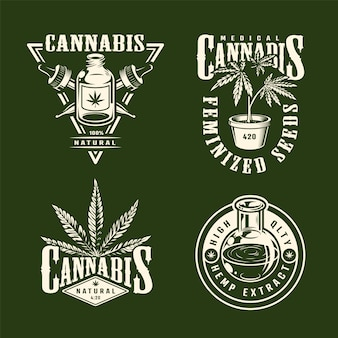 Étiquettes de cannabis monochrome vintage sertie de pipettes d'huile de chanvre plantes de marijuana isolé illustration vectorielle