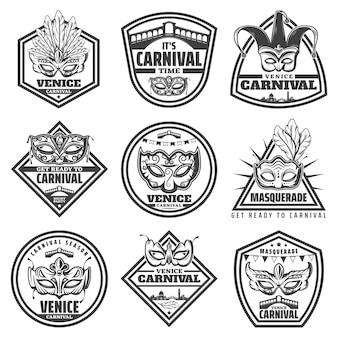 Étiquettes de carnaval de venise monochromes vintage sertie d'inscriptions mascarade