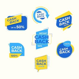 Étiquettes de cashback avec 50% de réduction