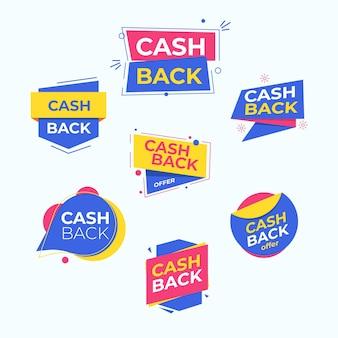 Étiquettes de cashback avec offre spéciale