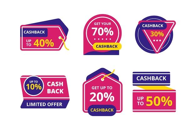 Étiquettes de cashback avec offres spéciales