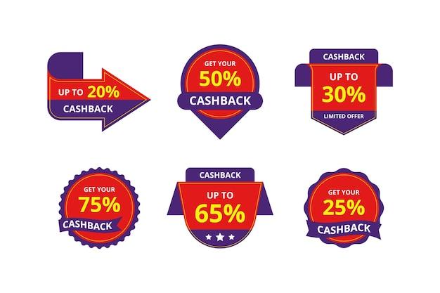 Étiquettes de cashback avec remises spéciales