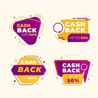 Étiquettes de cashback avec remises