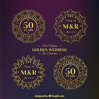 Étiquettes de célébration d'or d'anniversaire