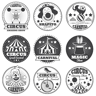 Étiquettes de cirque magique vintage. logos et badges vectoriels de carnaval spectacle de vacances