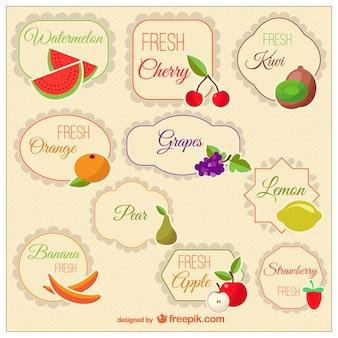 Étiquettes classiques de fruits
