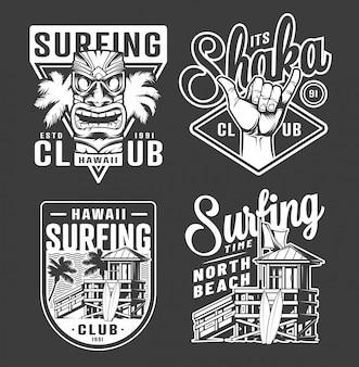 Étiquettes de club de surf monochrome vintage