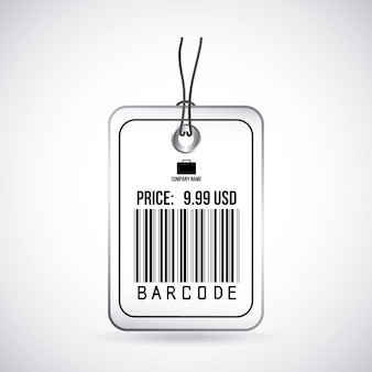 Étiquettes de codes à barres au cours de l'illustration vectorielle fond gris
