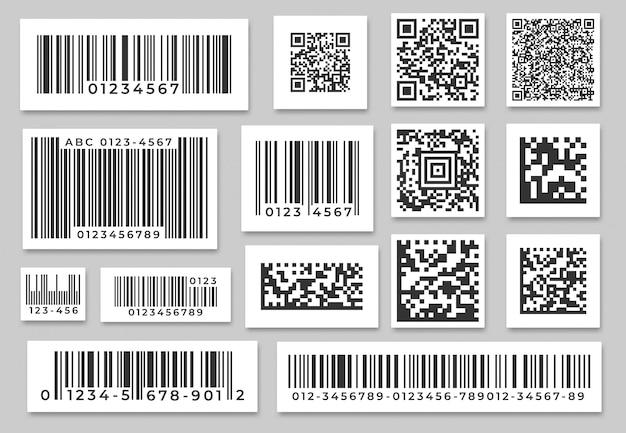 Étiquettes de codes à barres. autocollant de bandes de code, étiquette de barre numérique et barres d'étiquetage des prix de détail. ensemble de codes à barres industriels
