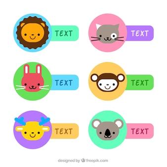 Étiquettes colorées mignonnes animales