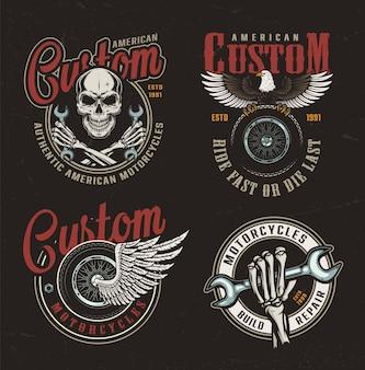 Étiquettes colorées de moto custom vintage