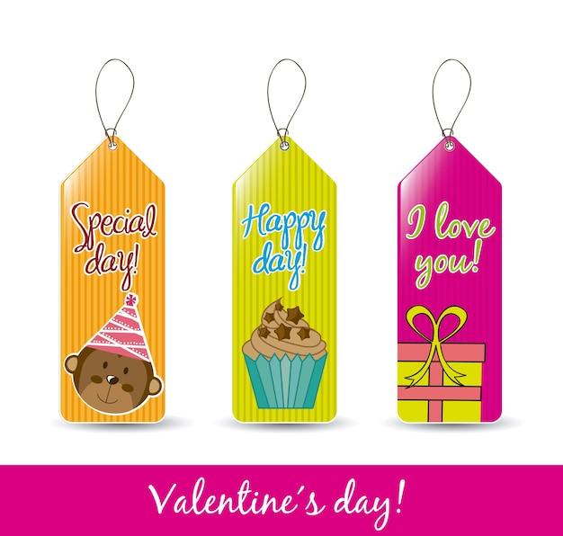 Étiquettes colorées de saint-valentin sur fond blanc