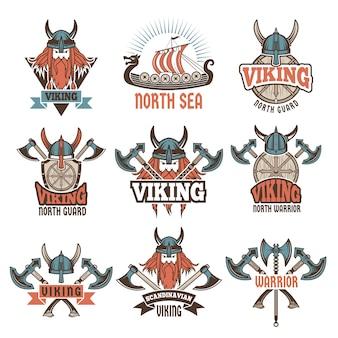 Étiquettes colorées sertie de guerriers barbares médiévaux