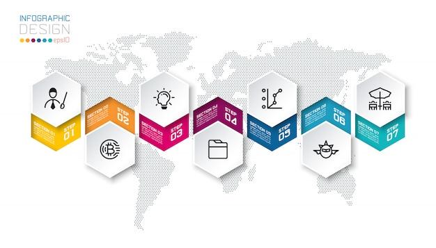 Les étiquettes commerciales à six pans creux forment la barre de groupes infographiques.