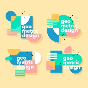 Étiquettes de conception graphique dans le concept de style géométrique