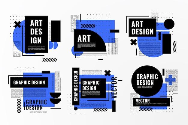 Étiquettes de conception graphique dans un style géométrique