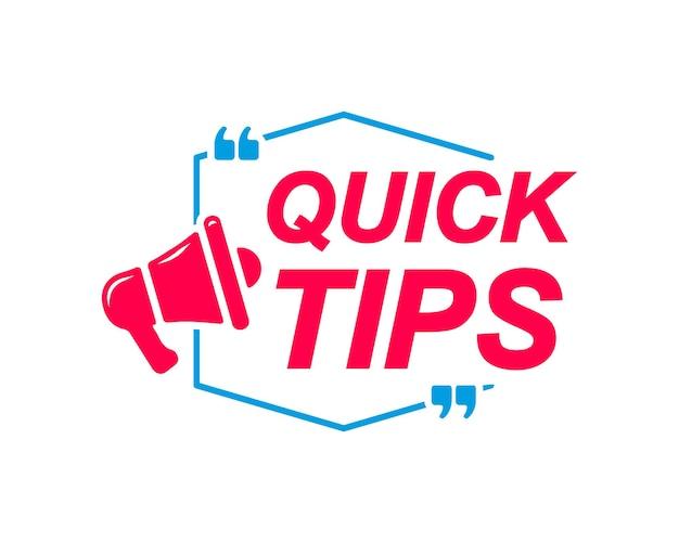 Étiquettes de conseils rapides bulles avec icône mégaphone autocollant publicitaire et marketing