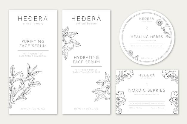 Étiquettes cosmétiques avec illustration dessinée à la main