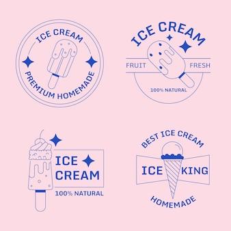 Étiquettes de crème glacée design plat linéaire