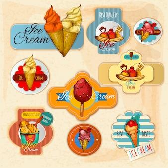 Étiquettes de crème glacée