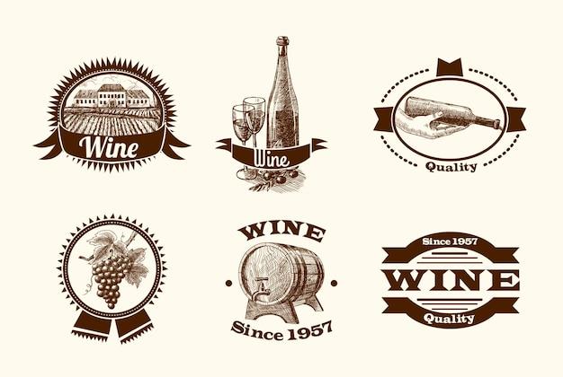 Étiquettes de croquis du vin