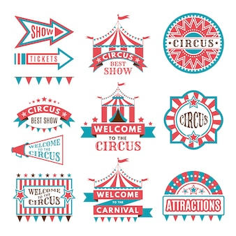 Étiquettes dans un style rétro. logos pour le divertissement du cirque