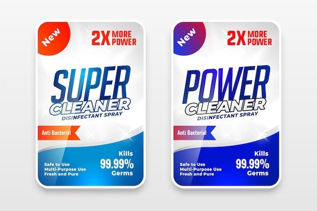 Étiquettes de désinfectant ou de détergent à lessive