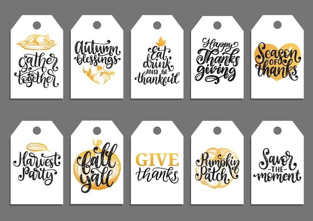 Étiquettes dessinées à la main et manuscrites de bénédictions d'automne, de citrouille, de remerciement, d'automne, de fête de la récolte, etc. étiquettes avec lettrage et illustrations pour le jour de thanksgiving.
