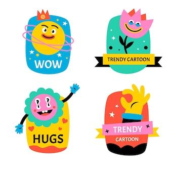 Étiquettes de dessins animés à la mode dessinés à la main