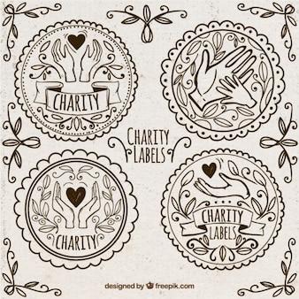 Étiquettes de dons dessinés à la main d'ornement