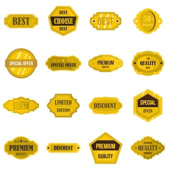 Étiquettes dorées définies icônes plats