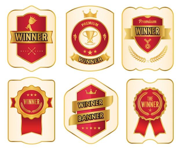 Étiquettes dorées gagnantes premium élégantes. conception vintage d'élément de bannière.