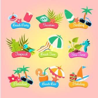 Étiquettes et éléments de fête d'été isolés