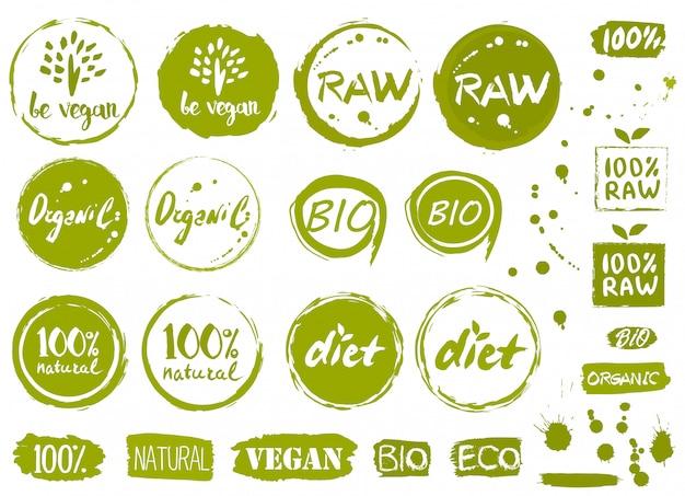 Étiquettes, éléments et logo bio