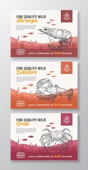 Les étiquettes d'emballage alimentaire de vecteur abstrait de fruits de mer biologiques de qualité fine définissent une typographie moderne et un dessin à la main ...