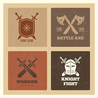 Étiquettes d'épée et de bouclier de guerrier vintage